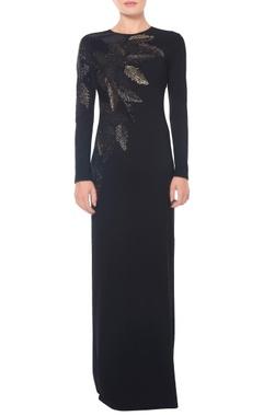 Black leaf embellished gown