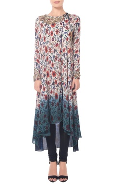 White, beige & blue shaded floral printed long tunic set