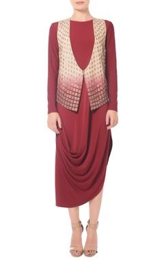 Beige & burgundy shaded embellished jacket