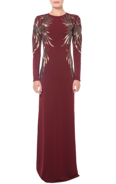burgundy swirl embellished gown