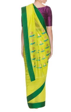 Lime green & emerald sunflower handwoven sari