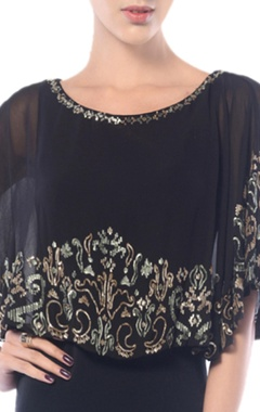 Black embroidered cape dress