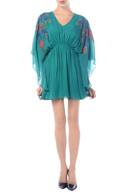 sea green embroidered kaftan dress