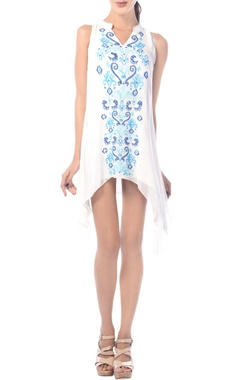 White embroidered asymmetric tunic dress
