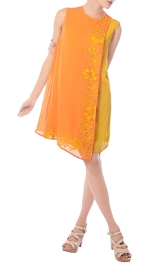 Tangerine & mustard embroidered tunic