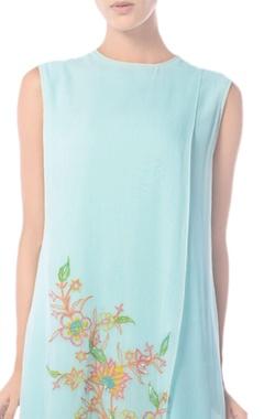 Aqua blue floral embroidered tunic