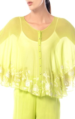 Lemon yellow embroidered cape jacket