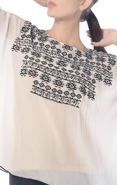 White aztec embroidered kaftan top