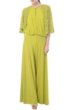 Lemon green aztec embroidered jumpsuit