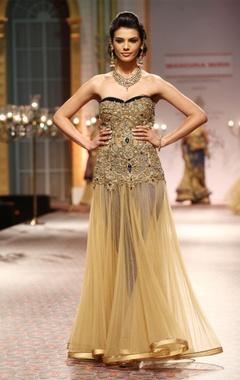Beige sequin & pearl enhanced gown