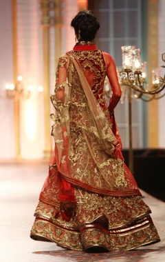 red floral zardosi embellished lehenga set