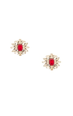 Prerto White & red rhodium plated floral earrings