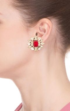 White & red rhodium plated floral earrings