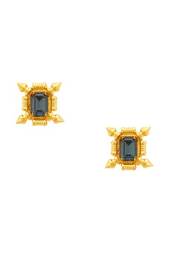 Prerto Gold plated earrings with midnight blue stones