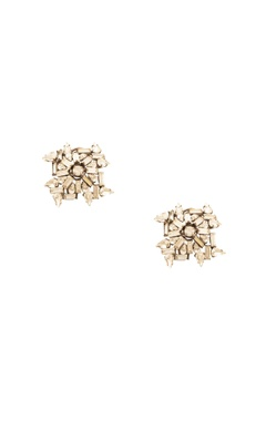 Prerto Rhodium plated geometric motif earrings