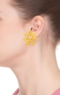 Gold plated floral earrings with studs