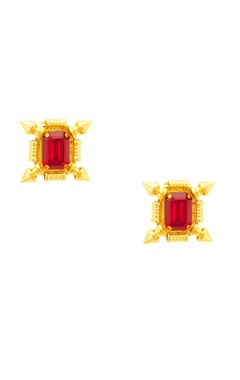 Gold plated earrings enhanced with red accents
