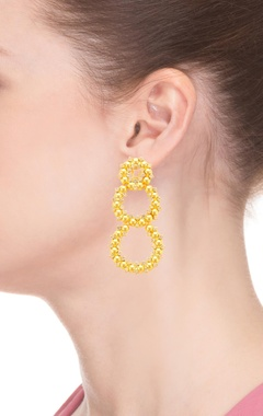 Gold plated hoop earrings with studs