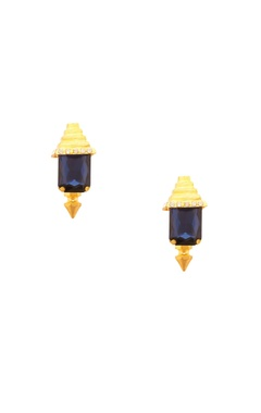 Prerto Rose gold plated blue pyramid design earrings