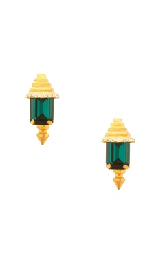 Prerto Rose gold plated green pyramid design earrings