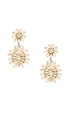 Rhodium plated floral motif dangler earrings