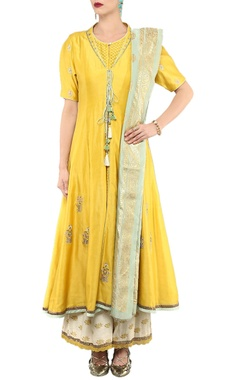 Yellow & white embellished kurta  & palazzo set