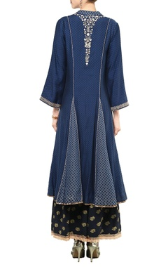 Dark indigo embellished anarkali set