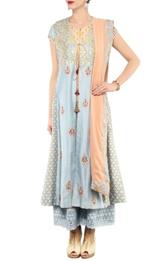ash blue & peach floral printed kurta  & palazzo set