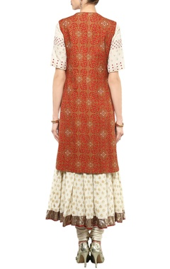 ivory anarkali set & red jacket