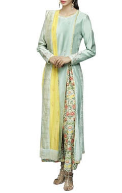mint & yelllow floral printed kurta & palazzo set