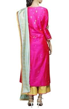 Hot pink & yellow embellished kurta  & palazzo set