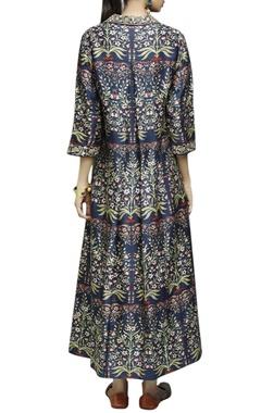 Dark blue floral printed jacket, inner & palazzos