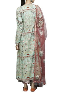 mint & red floral printed kurta  & palazzo set