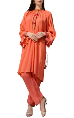 orange thread work tunic with pants