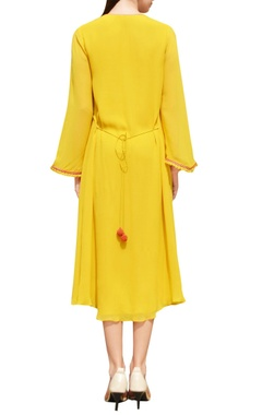 yellow dress with embroidered yoke