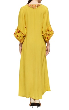 yellow embroidered side slit kaftan dress