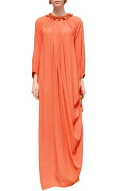 Orange rouched dress with skirt