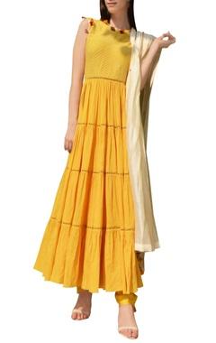 yellow & cream kurta set with tassel details