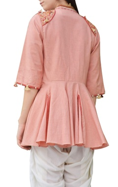 salmon pink thread embroidered flared jacket