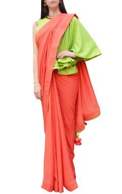 Orange sari with one shoulder blouse
