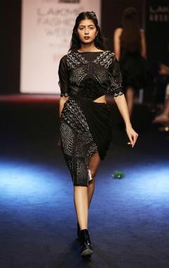 black sheath dress with waist cut out
