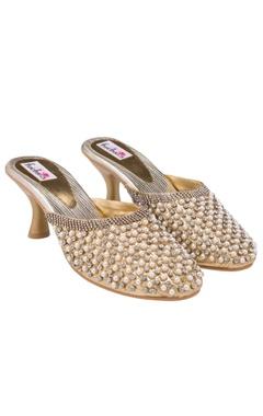 Golden studded kitten heels