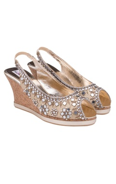 Golden mirror embellished peep toes