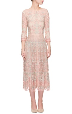 Light pink scalloped & embroidered dress