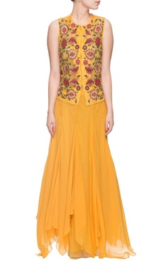 Yellow floral thread embroidered top