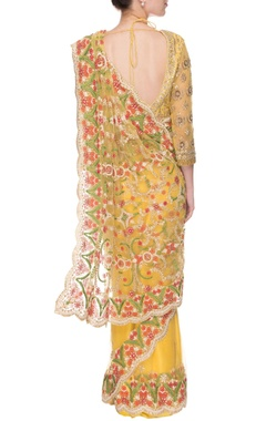 Yellow patti embellished sari with blouse
