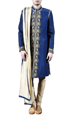 Blue & gold embellished sherwani