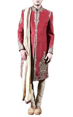 red & gold embellished sherwani