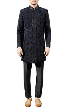 Black embellished bandhgala set