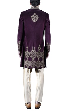 Burgundy & gold embellished sherwani